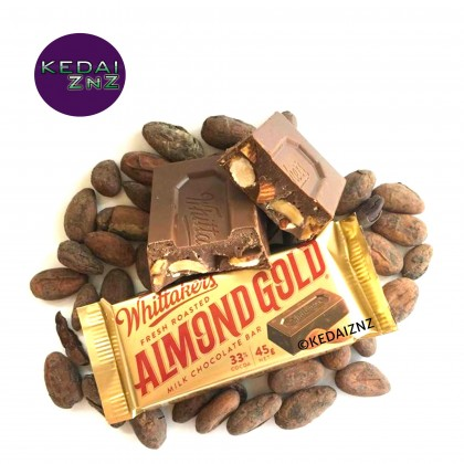Chocolate Whittakers Fresh Roasted Almond Gold Milk Chocolate Bar 135g (45g x 3) Coklat